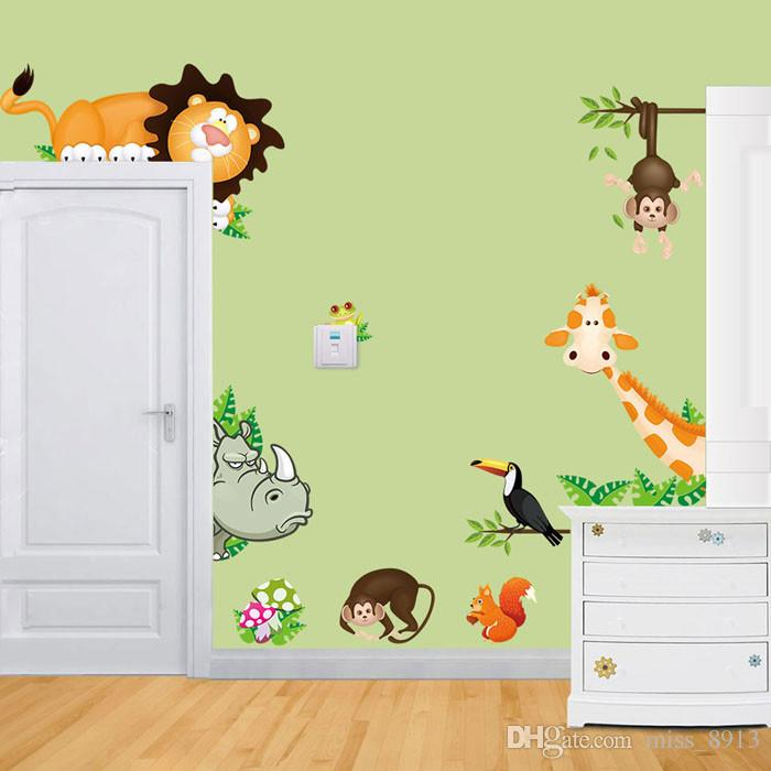 2019 Wall Stickers Jungle Animal Kids Baby Nursery Child Home Decor
