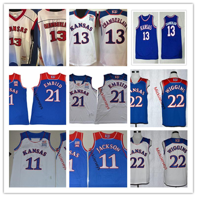finest selection 7be1a da24e NCAA Kansas Jayhawks Joel Embiid College Basketball Jersey 11 Josh Jackson  13 Wilt Chamberlain 22 Andrew Wiggins Kansas Jayhawks Jerseys S-3