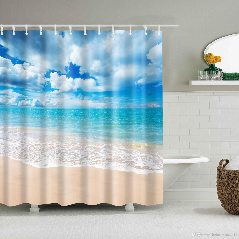 180 X 180cm Sea Life Waterproof Fabric Bathroom Shower Curtain With 12 Hooks