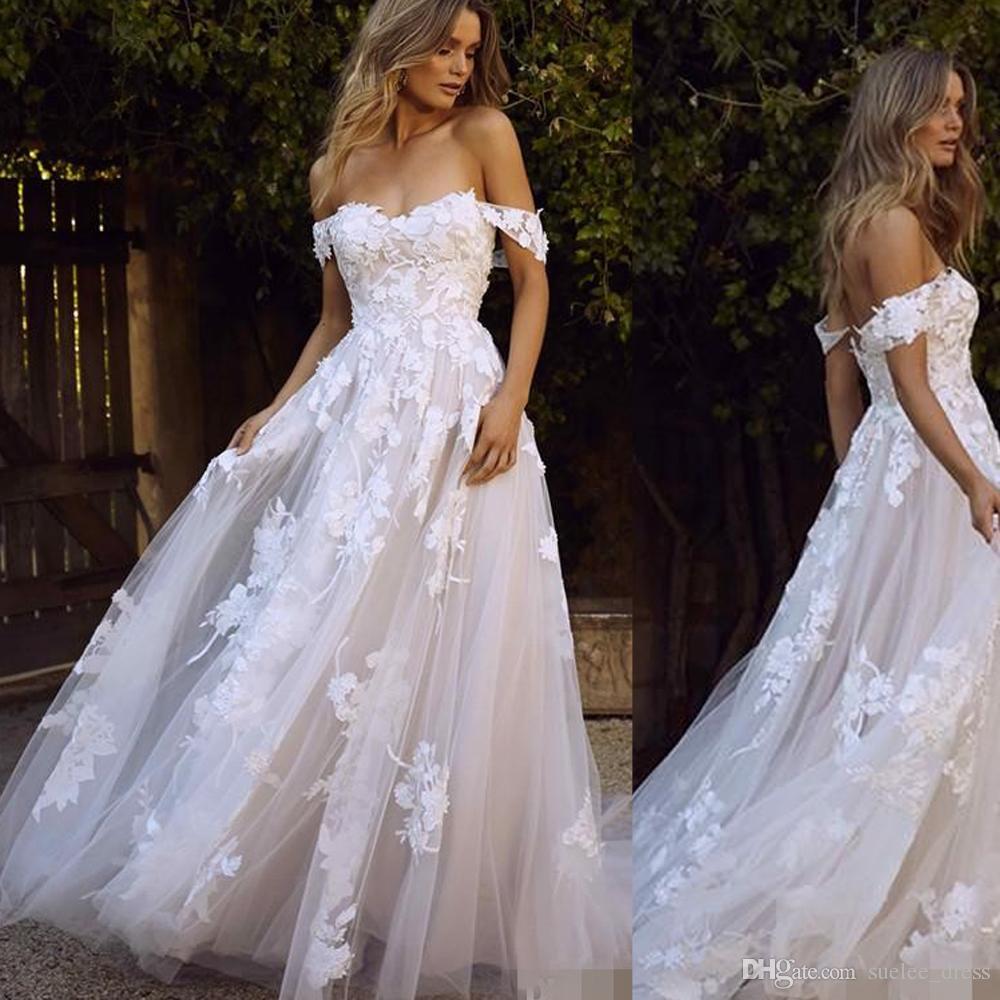 Discount Elegant Off The Shoulder Beach Wedding Dresses