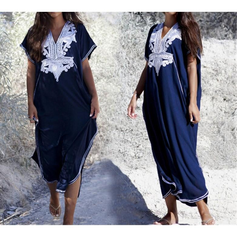 2019 Summer Plus Size Kaftan Cotton Beach Dress Cover Up Women Embroidery  Long Maxi Robe Loose Casual Sundress