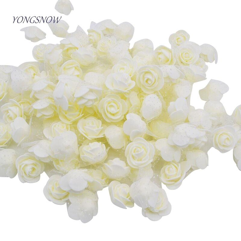 50pcs/lot 3.5cm PE Foam Rose Multi-use Artificial Flower Head Handmade With Tulle DIY Wedding Home Party Decoration Supplies C18112602