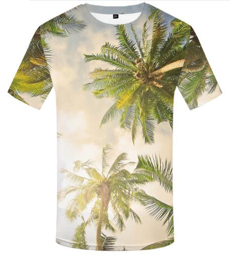 df5fbdcee43501 Fashion Coconut Trees Beach Hawaii Women Men New Fashion Summer Unisex  Funny 3d Print Short Sleeve Crewneck Casual 3D T Shirt Tops Q242 T Shirt  With Shirt ...