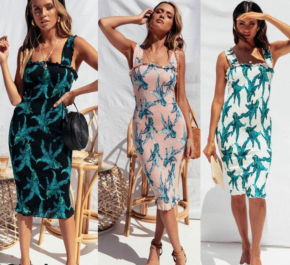 74857398aed Summer Fashion Women Evening Party Off Shoulder Holiday Floral Print  Sleeveless Flower Boho Chic Ladies Pencil Dress Pale Yellow Maxi Dress All  White Maxi ...