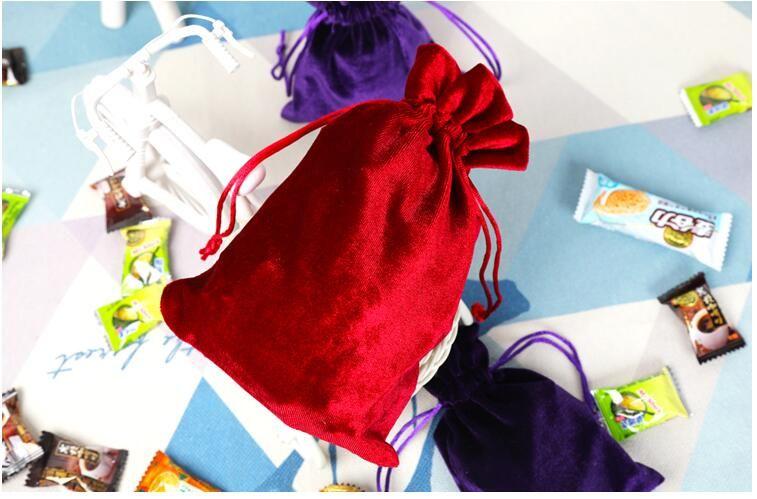 10 teile / los 10 * 15, 12 * 14, 13 * 20, 25 * 30 cm Rot / Lila / Grün / Blau Weiche Seide Samt Kordelzug Beutel Hochzeitsgeschenk Beutel Süßigkeitstasche