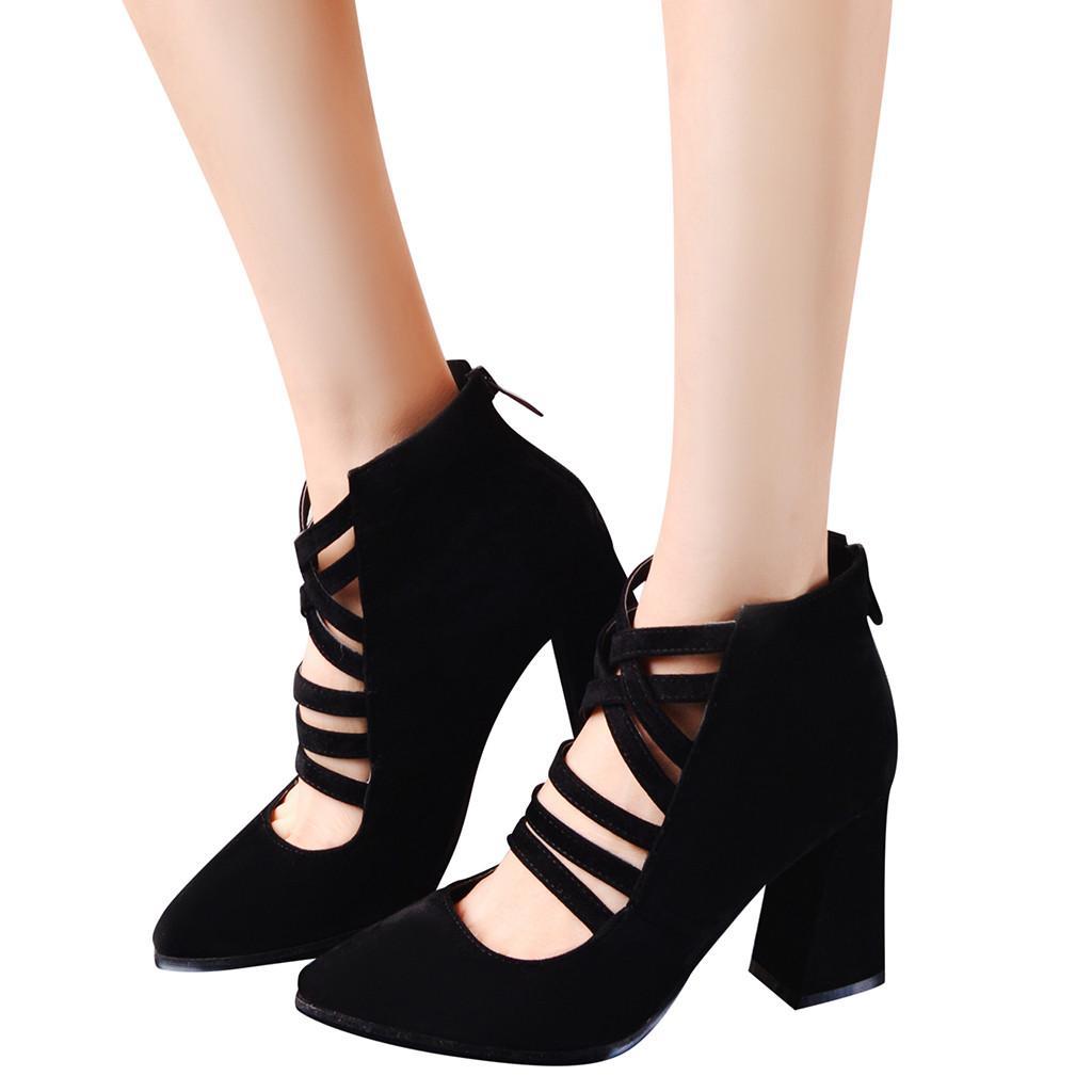 4d923ffc36 Compre 2019 Mulheres Primavera Botas Novo Estilo Bota Moda Único Sapatos De  Volta Zipper Sapatos De Salto Alto Oco Selvagem Das Senhoras Botas Botas  Mujer ...