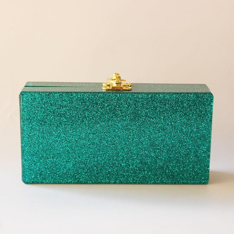 Green Glitter 18X9 CM Fashion Handmade Acrylic Box Clutches Bags Lady Bridal Evening Bags Beach Summer Mini Flap Mirror Box Bags