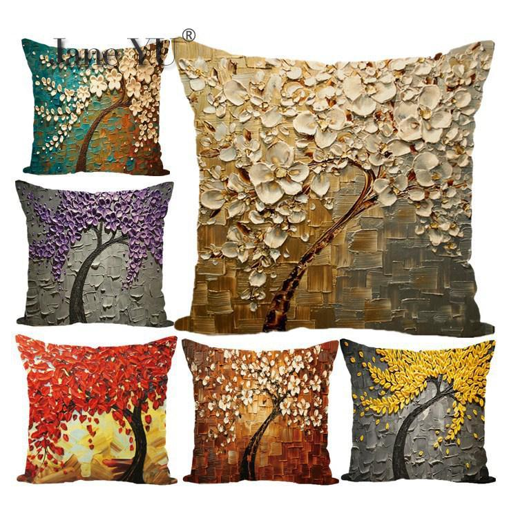 JaneYU Oil Painting Tree Series Digital Printing Pillowcase Holder 45x45cm Decorative Pillowcases Pillow Case