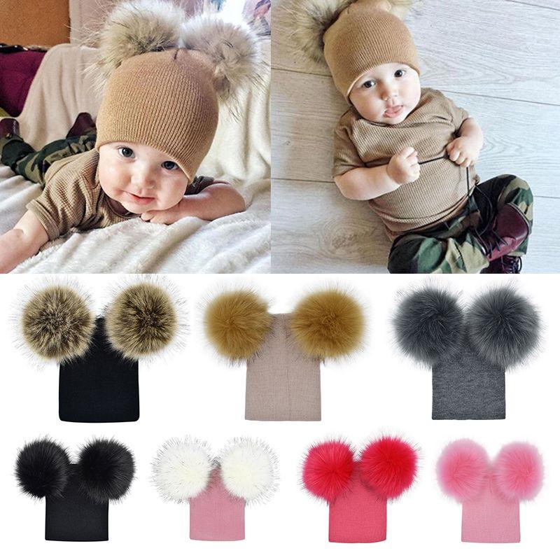bbf552e8272 2019 Cute Baby Kids Winter Hat Knitted Warm Double Fur Pompom Caps Beanies  Boys Girls Pom Pom Hats Children Solid Cap Bonnet Gorro From Kids show