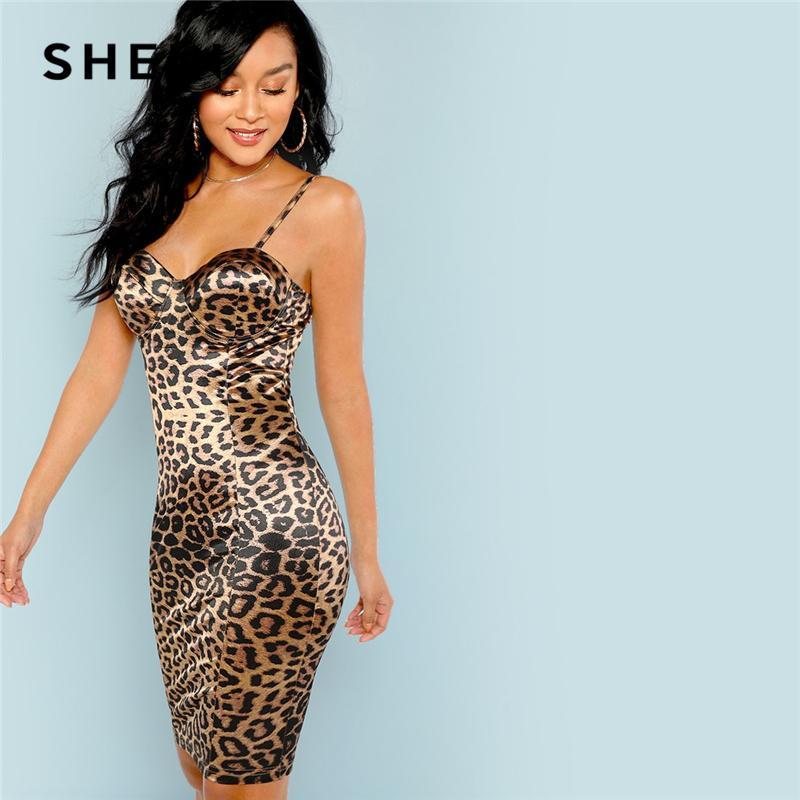 8868da3219 2019 Shein Multicolor Sexy Club Leopard Print Bustier Natural Waist Skinny  Slip Cami Dress Autumn Party Women Short Dresses T190409 From Zhengrui05,  ...