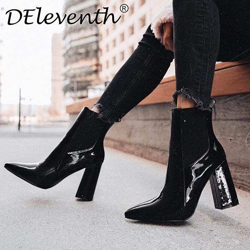 DEleventh pointed toe riding boots women's shoes thick high heels ankle boots punk pock gothic biker woman big size 42