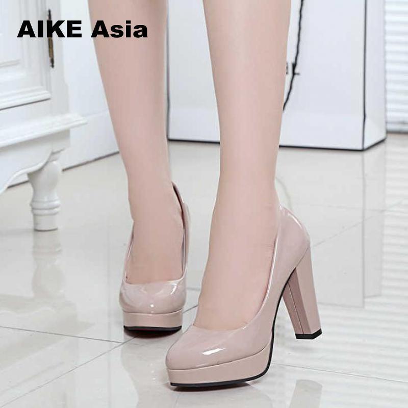 e82f218a17 Shoes 2019 Women Pumps Fashion Classic Patent Leather High Heels Nude Sharp  Head Paltform Wedding Dress Plus Size 34-42