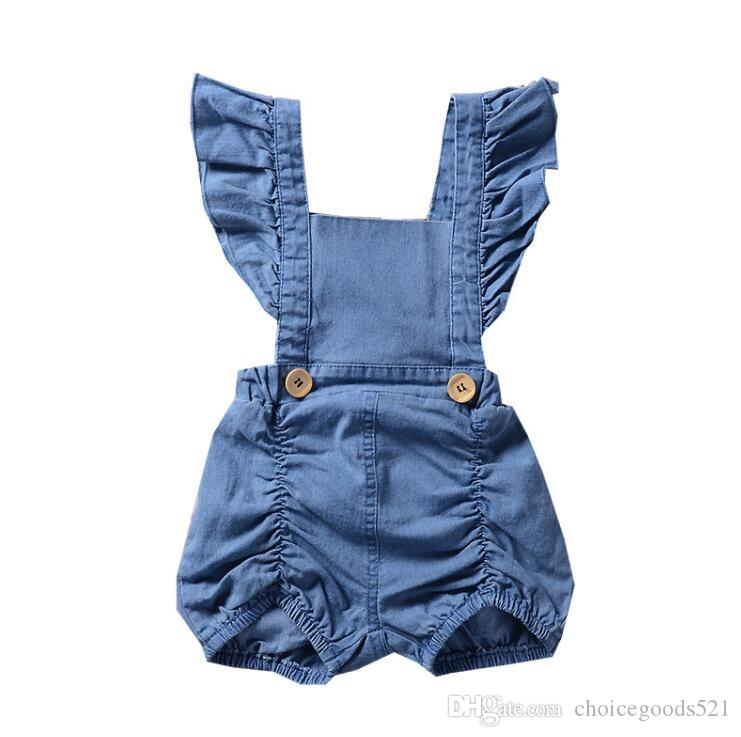 3f7d603f1a74 2019 Baby Girls Rompers Summer Fly Sleeve Newborn Onesies Clothing Denim  Cute Toddler Romper Boutique Infant Bodysuit Clothes Kids Clothing From ...