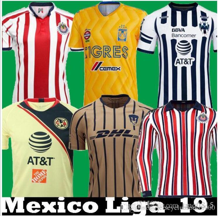 480ca8c1978 Acquista DHL Shipping 2018 2019 Messico Liga MX CHIVAS Guadalajara Long  Club America UNAM TIGRES Monterrey Soccer Maglie 18 19 Cuervos Maglia Da  Calcio A ...