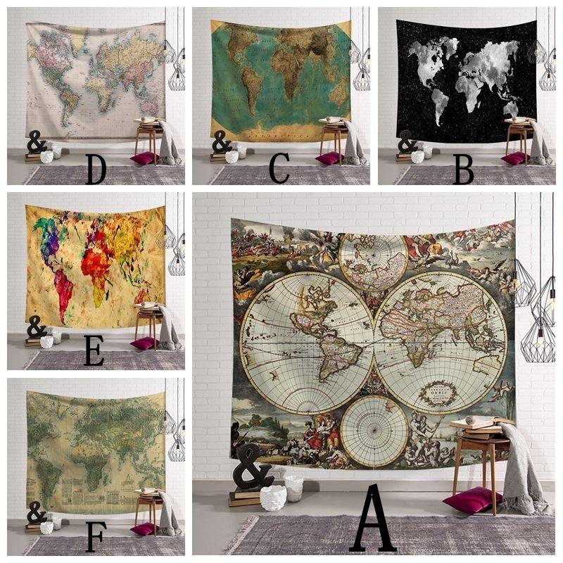 60 X 51 Inch 3d Digital Printing Watercolor World Map Tapestry Wall