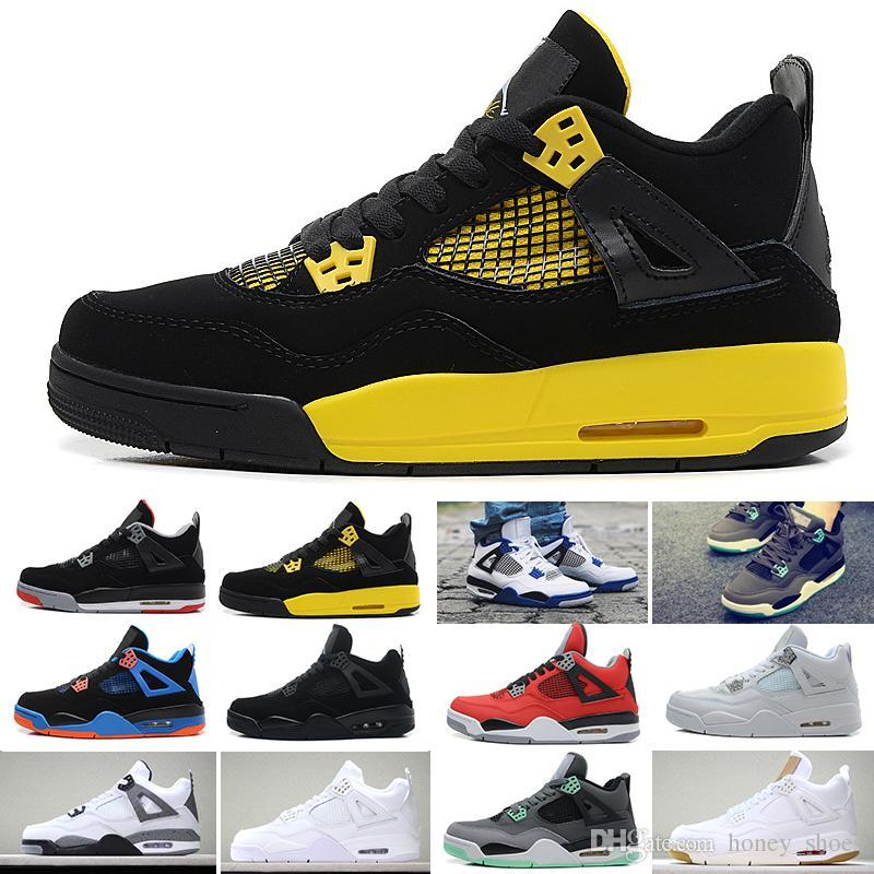 check out ad61a 48017 Acquista Nike Air Jordan 1 4 6 11 12 13 Con Scatola 4 4s Scarpe Da Basket  Da Uomo Soldi Puri Royalty Raptor Di Cemento Bianco Gatto Nero Bred Fire  Donna ...