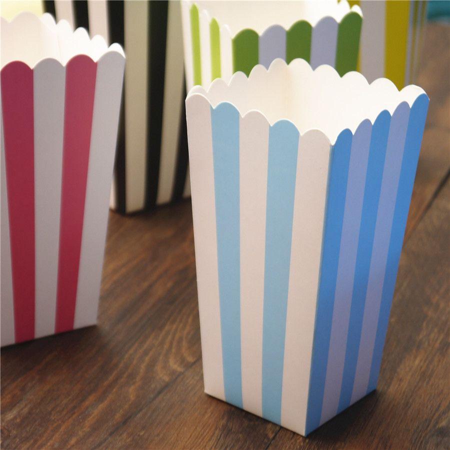 boîte de pop-corn coloré rayures chevron points or cadeau boîte faveur faveur mariage pop corn kid décoration parti sacs ramasser rose