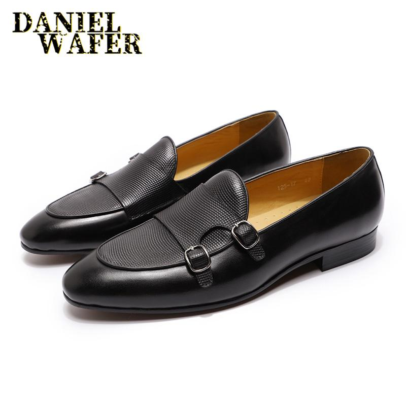 Italian Style Men Loafers Shoes Leather Men Brown Black Hand Painted Monk Strap Pointed Toe Casual Dress Shoes Wedding Party