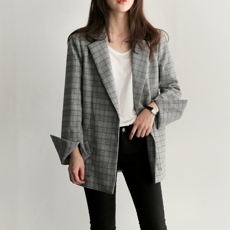 Korean Plaid Female Blazer Jacket Fashion Bow Sashes Split Sleeve Elegant Office Ladies Blazers For Women With Belt Feminino
