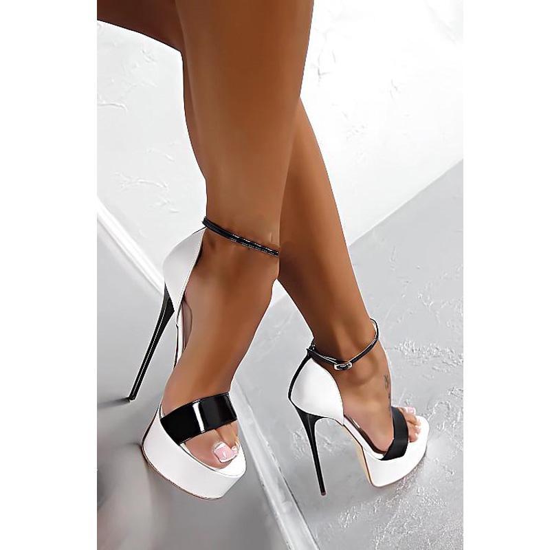 02b22bb70 Compre Big Size 34 46 Couro Pu Sandálias De Salto Alto 16 Cm Stripper Shoes  Sapatos De Festa De Casamento Do Verão Das Mulheres Gladiador Sandálias De  ...