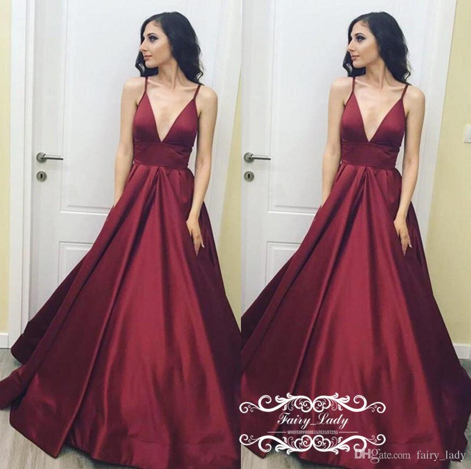 Cheap Long Burgundy Satin Evening Dress For Women 2019 A Line Pink ... f9615bf85