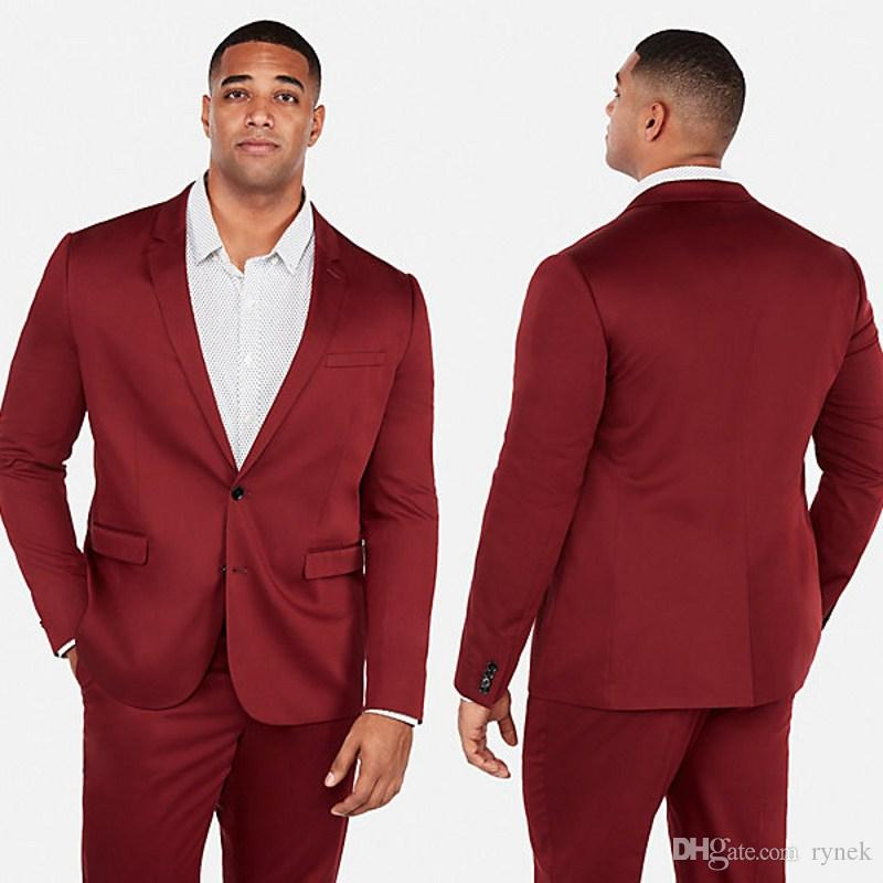 Plus Size Burgundy Men Business Suits for Wedding Suits Man Blazers Groom Tuxedos Groomsmen Suits 2Piece Coat Pants Slim Fit Costume Homme