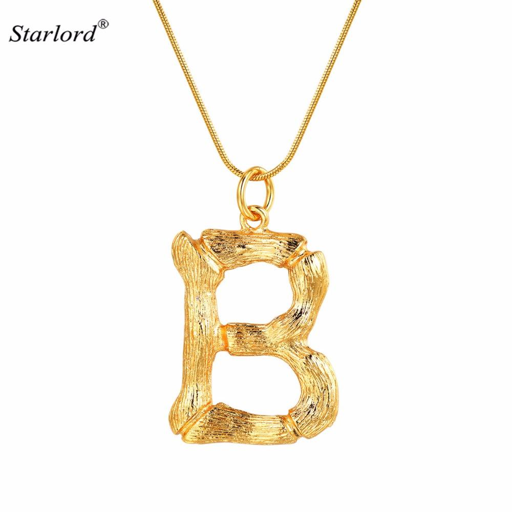 b1165f3b68bf Wholesale Big Initial Letter B Necklace Gold 26 Alphabet Jewelry  Personalized Gift For Women Men Statement Bamboo Letter Charm P9075 Lockets  Fashion Jewelry ...