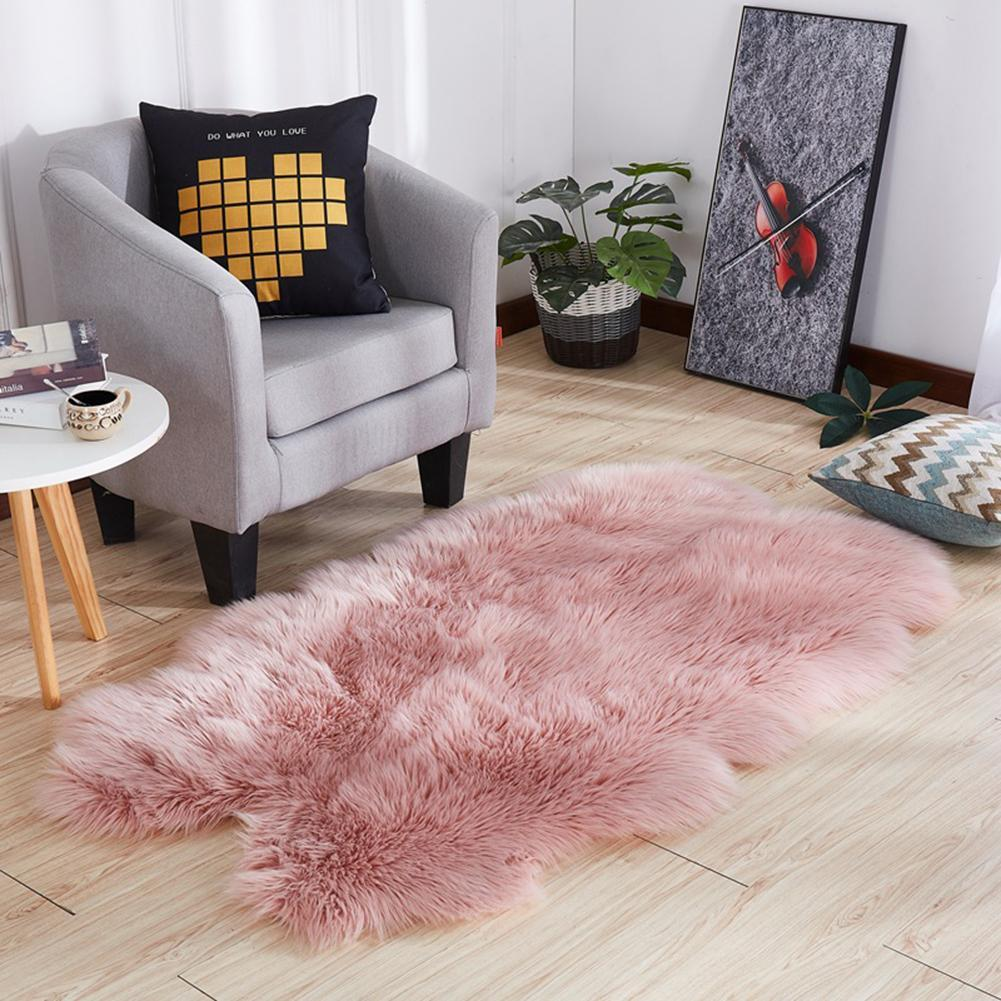 Winter Solid Color Washable Soft Rug Carpet Floor Bed Mat Living Room Home Decoration