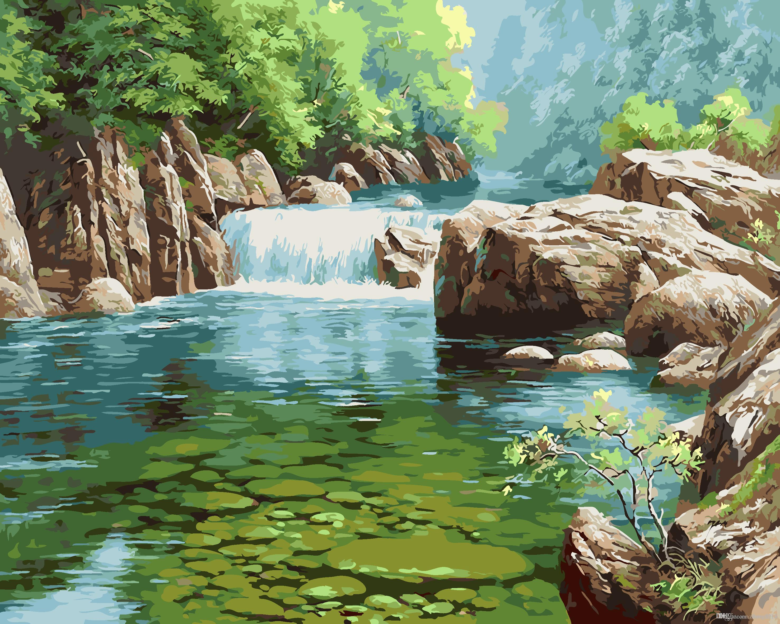 2019 16x20 inches green forest wood and river scenery diy paint on canvas drawing by numbers kits art acrylic oil painting frame for adults from zhang8914