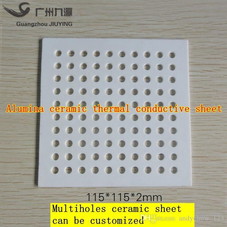 Aluminium oxide thermal conductive plate 115*115*2mm multiholes ceramic  heat sink ceramic processing