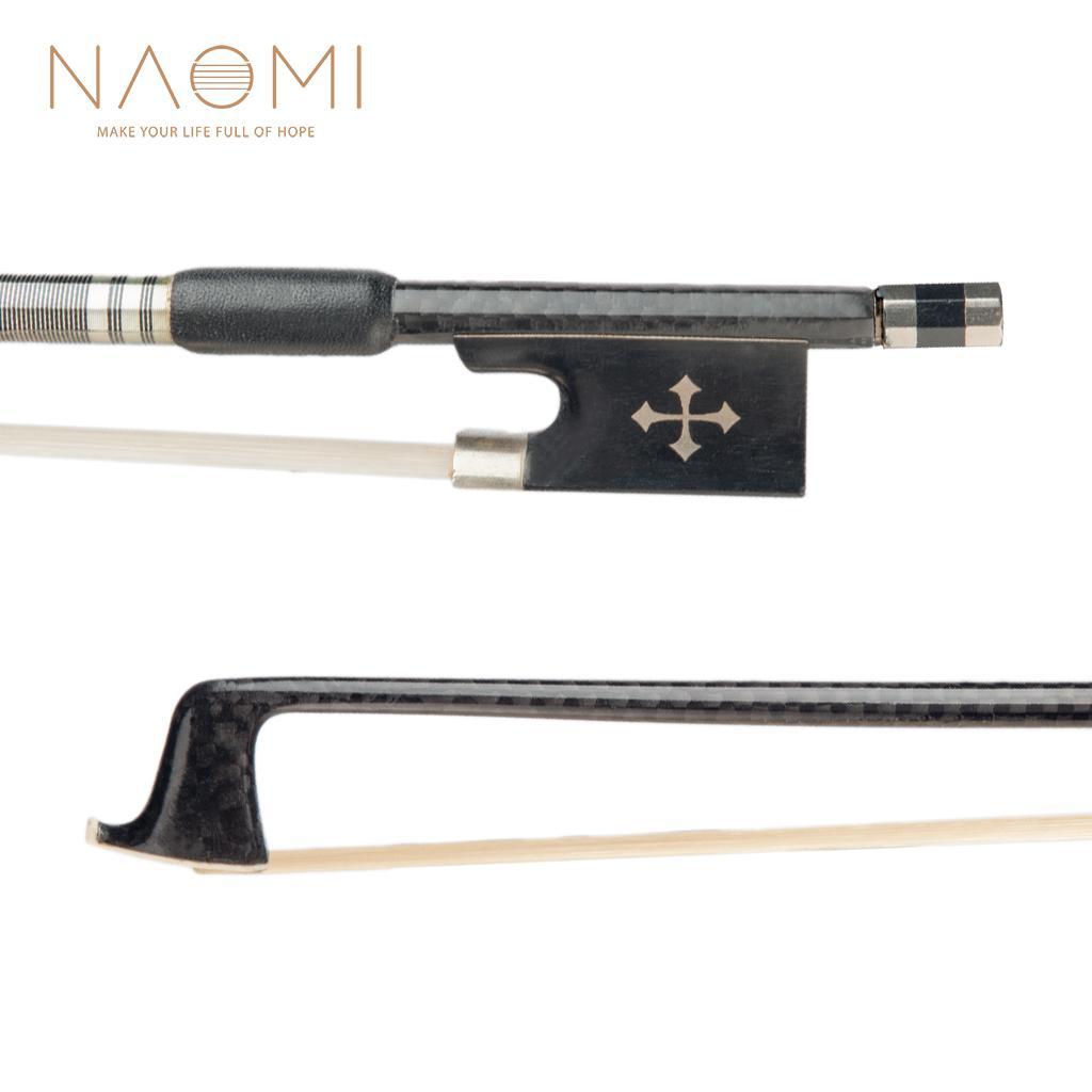 85a6a70db Compre Naomi 4 4 Arco De Violino Arco De Fibra De Carbono Para 4 4 Violino  Ébano Sapo Vara Redonda Requintado Crina De Cavalo Bem Equilíbrio Violino  Peças ...