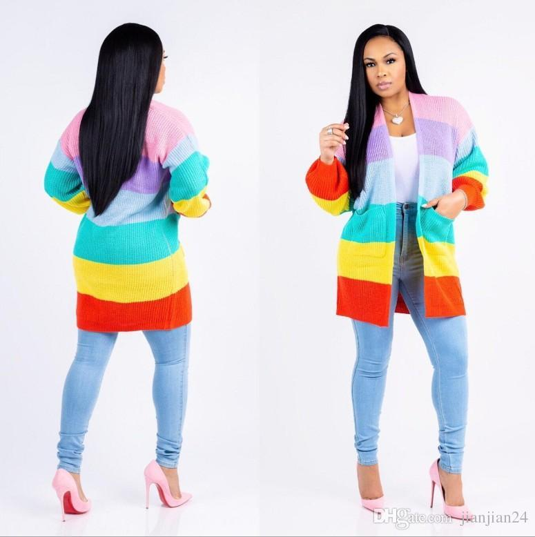 5c60f19aa85 ... Offer Europe And the United States New Explosions Street Wearing Rainbow -colored Striped Sweater Jacket Fashion Women Women Woman s Clothes Online  with ...
