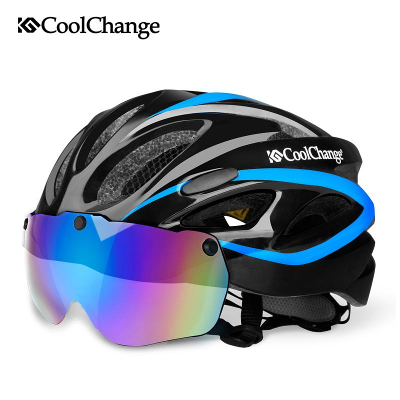 CoolChange Bicycle Helmet EPS Insect Net Road MTB Bike Windproof Lenses Integrally-molded Helmet Cycling Casco Ciclismo