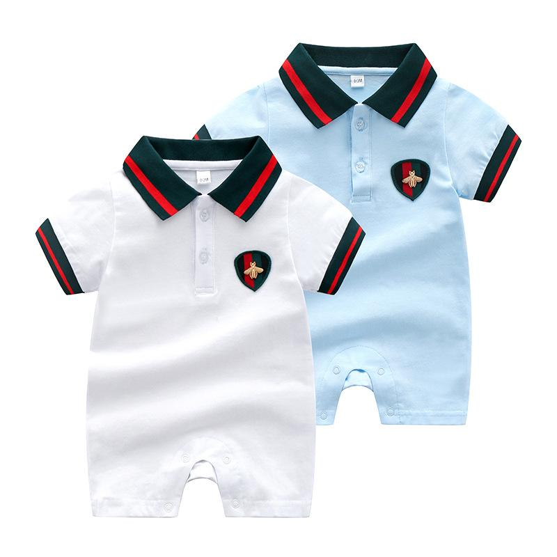 f5cc5a8f6 2019 Toddler Baby Clothes Girls Boys Rompers Striped Cotton Short ...