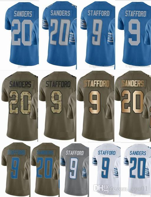 wholesale dealer 55aff 2cdc8 Lions DETROIT #9 Matthew Stafford #20 Barry Sanders Men Women Youth Vapor  Untouchable 2017 Salute to Service Custom Football Jersey