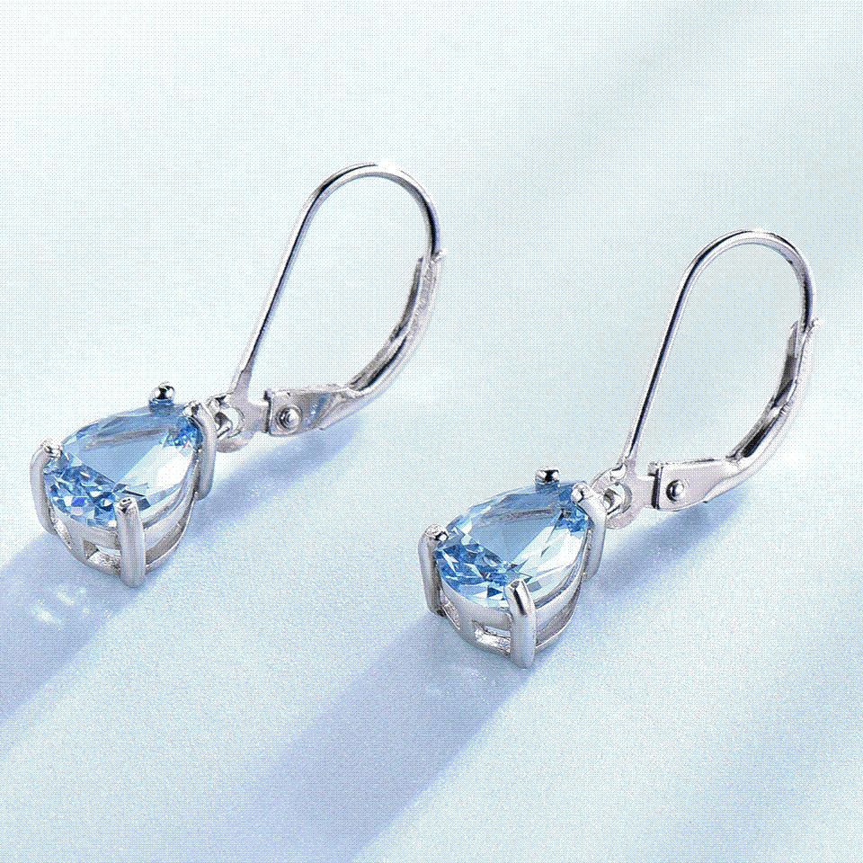 b145cf7cb UMCHO Pure 925 Sterling Silver Clip Earrings For Women Sky Blue ...