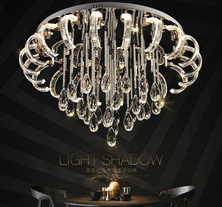 Acheter Moderne Concise Salon Cristal Lampe De Plafond Lampe Led
