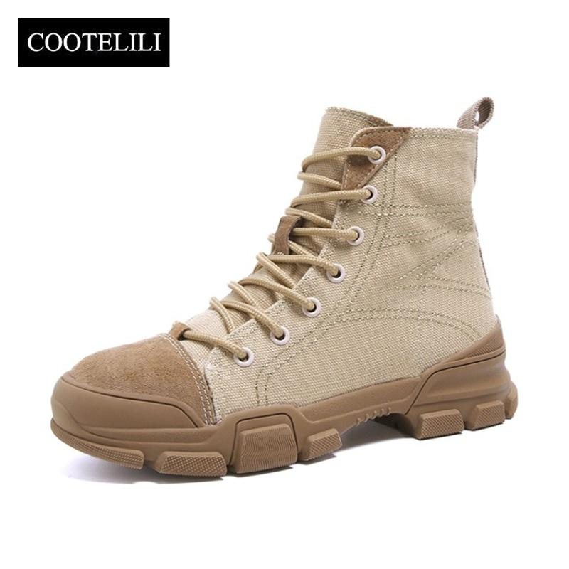 Mujeres Zapatos Botas Compre Cootelili Militares Goma De Lona AXA64Uqw