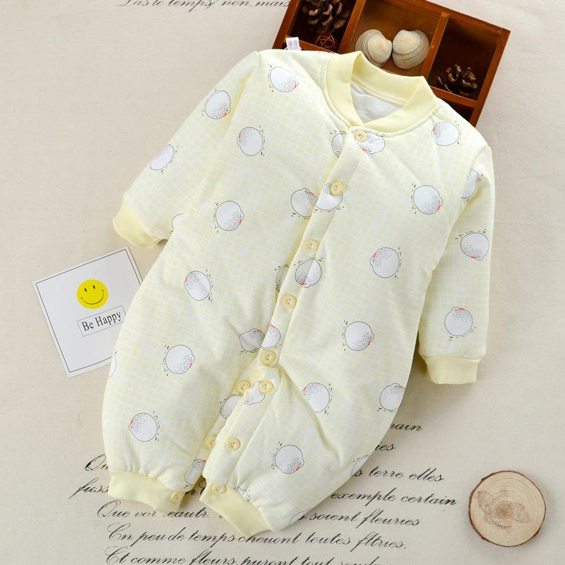 good quality Newborn Baby Warm Rompers Infant Baby Winter Cotton Thicken Jumpsuit Baby Plus Velvet Pajamas Clothes Toddler Sleepwear