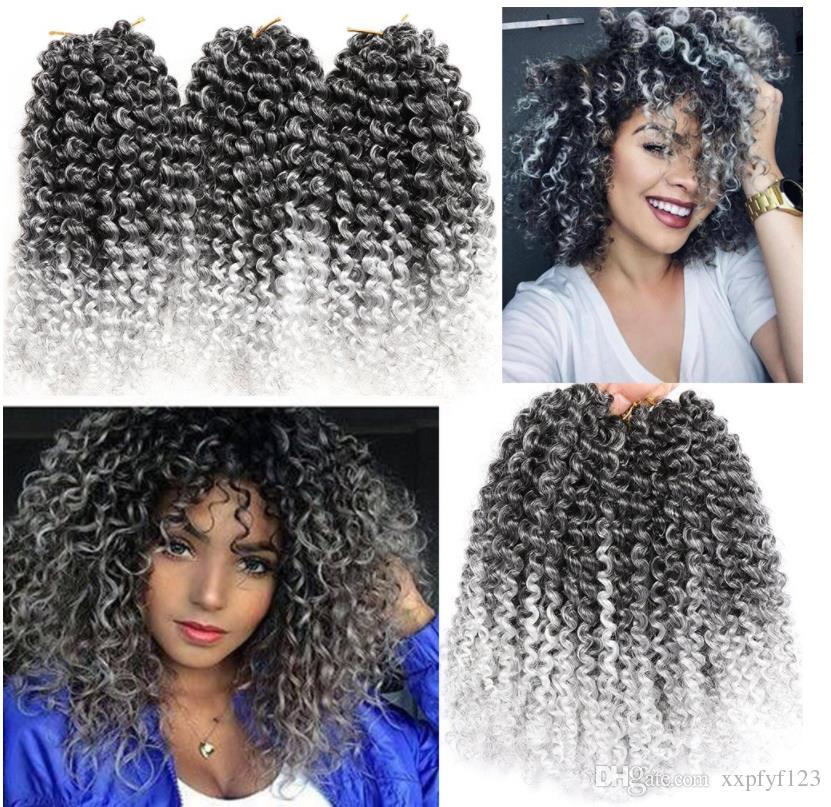 health Ombre color Crochet Braiding Curly Hair Extensions 14 inch dark roots/pack Water Wave Bulk Crochet Latch Hook Braiding Hair FZP212