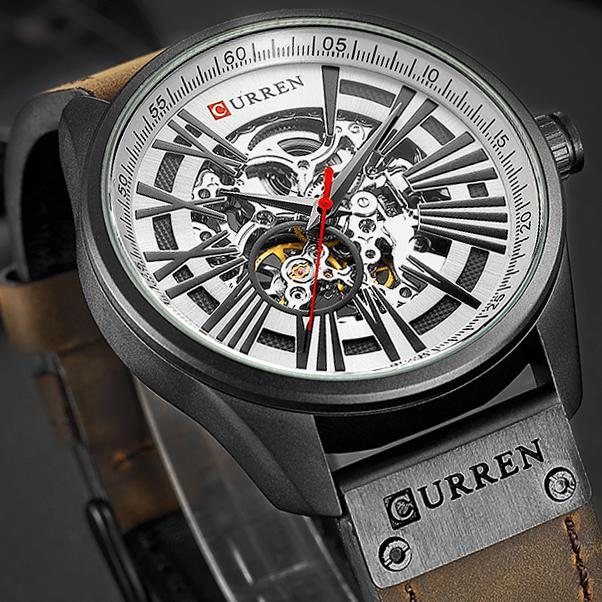 New CURREN Watch Men Skeleton Tourbillon Mechanical Watches Male Leather Automatic Self-wind Sports Clock Relogio Masculino C19010401