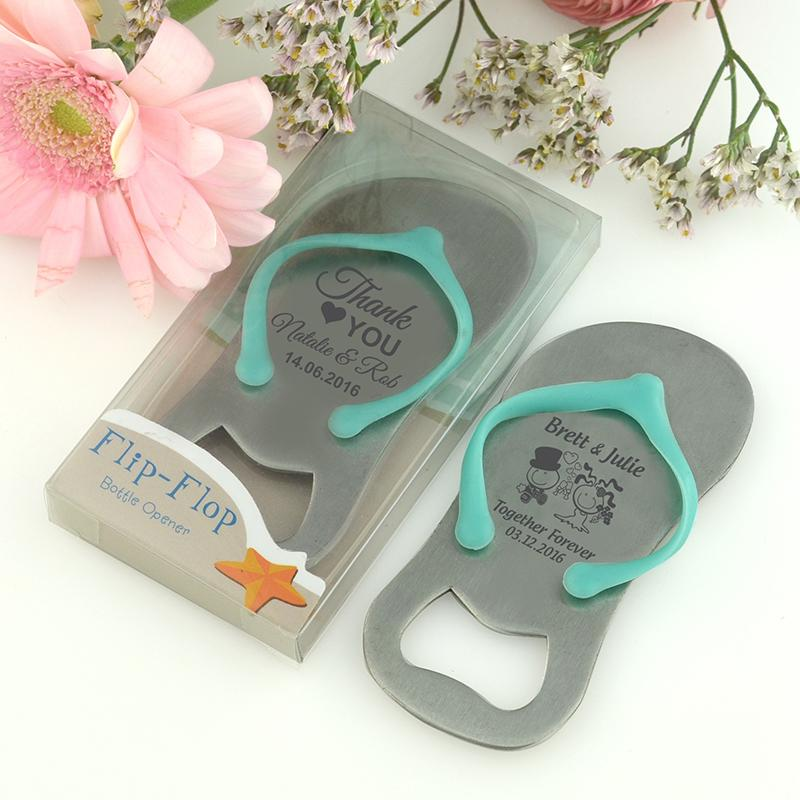 Beach Themed Wedding Party Favour Bomboniere Keepsake Personalized Wedding Favor Flip Flop Thong Bottle Opener in Gift Box