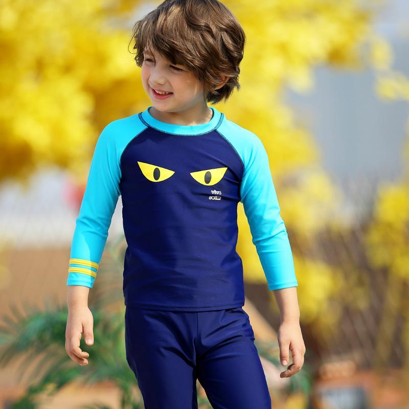 127c51c953 Set of 3 Swim Suit for Kids Long Sleeve Top & Bottom Swim Suit w/ Cap  Children Rash Guard Blue Boys Pull-over Shirt+Trunks