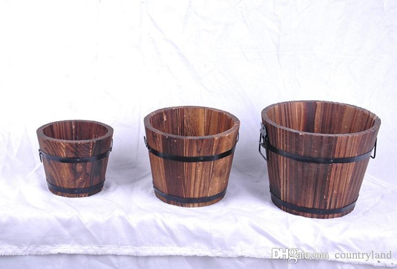 10sets Vintage Style Carbonized Wood Barrel Flower Pot Planting Wooden Succulent Planter Garden Home Decorations wen5449 20180920#