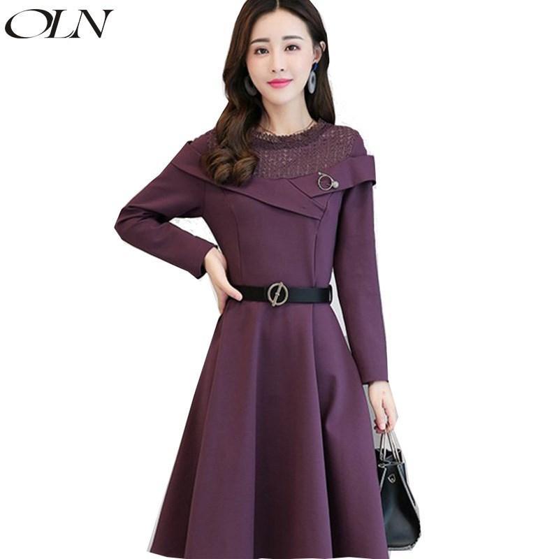 2018 Autumn Winter New Fashion Korean Version Mid Length O Neck Long Sleeve  Wrap Elegant Women Dress Vestido Robe Femme Dresses Cheap Evening Dress  Discount ... 3988394ad