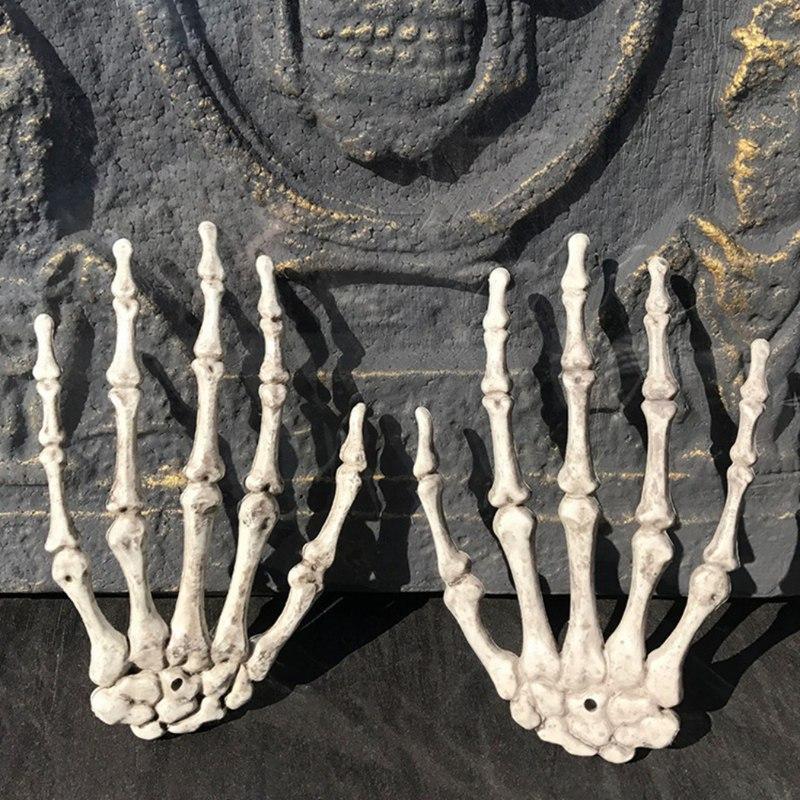 1 Çift Cadılar Bayramı Dekorasyon için Plastik İskelet Eller Perili Ev Cadılar Bayramı Sahne Parti Dekor