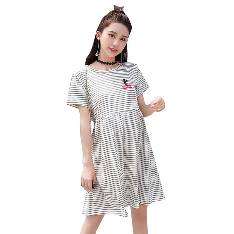 02093a413c 2019 Striped Cotton Pregnacy Dresses Clothes For Pregnant Women 2019 Summer  Korean Cotton Pregnancy Dresses Casual Maternity From Breenca