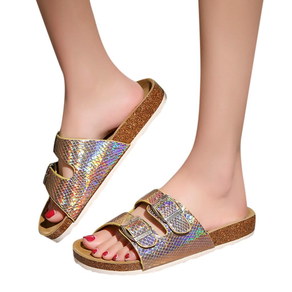 b3069e0d0b25 Women Slippers Home Summer Beach Flip Flops Cork Sandals Bling Sequins For  Family Shoes Leopard Barefoot Flats Ladies Slipper Brown Boots Winter Boots  For ...