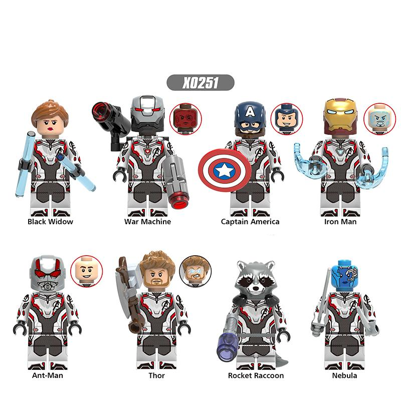 Building Blocks Avengers 4 Super Heroes Black Widow War Machine Thor Iron Man Ant-Man Figures Collection Toys For Children X0251