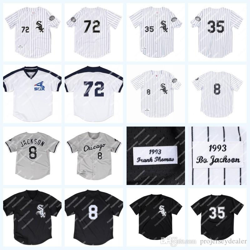 new product 50752 41d90 8 Bo Jackson 1993 35 Frank Thomas White Sox 72 Carlton Fisk 29 Jack  McDowell 21 George Bell 30 Tim Raines Baseball Jersey